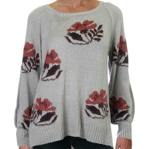 NEW Willow & Clay Floral Intarsia Sweater SMALL